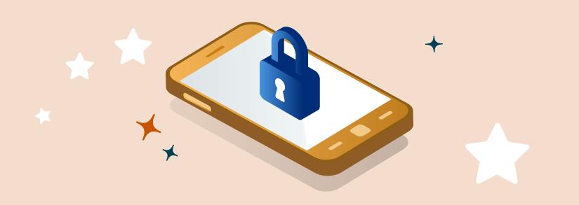 celular con un seguro encima